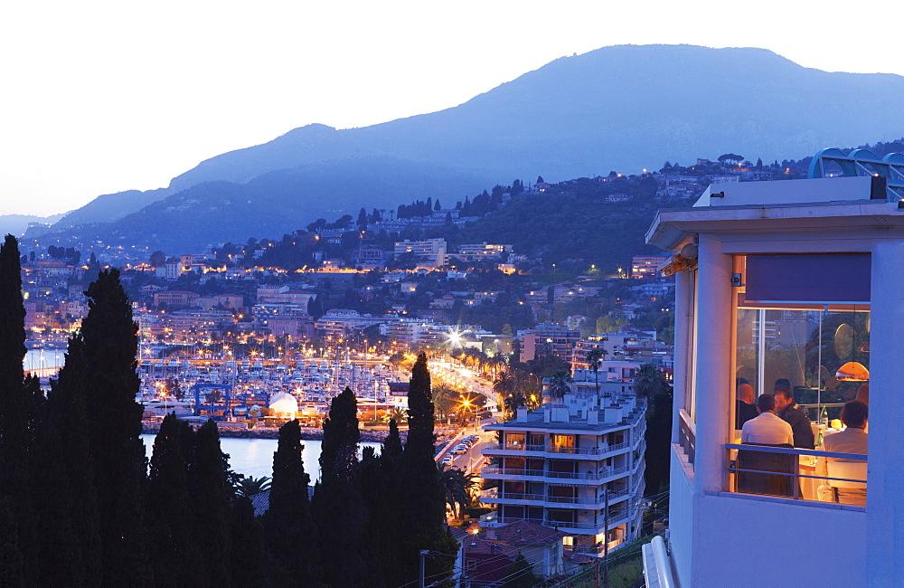 Illuminated view of Menton at night, French Riviera, French
