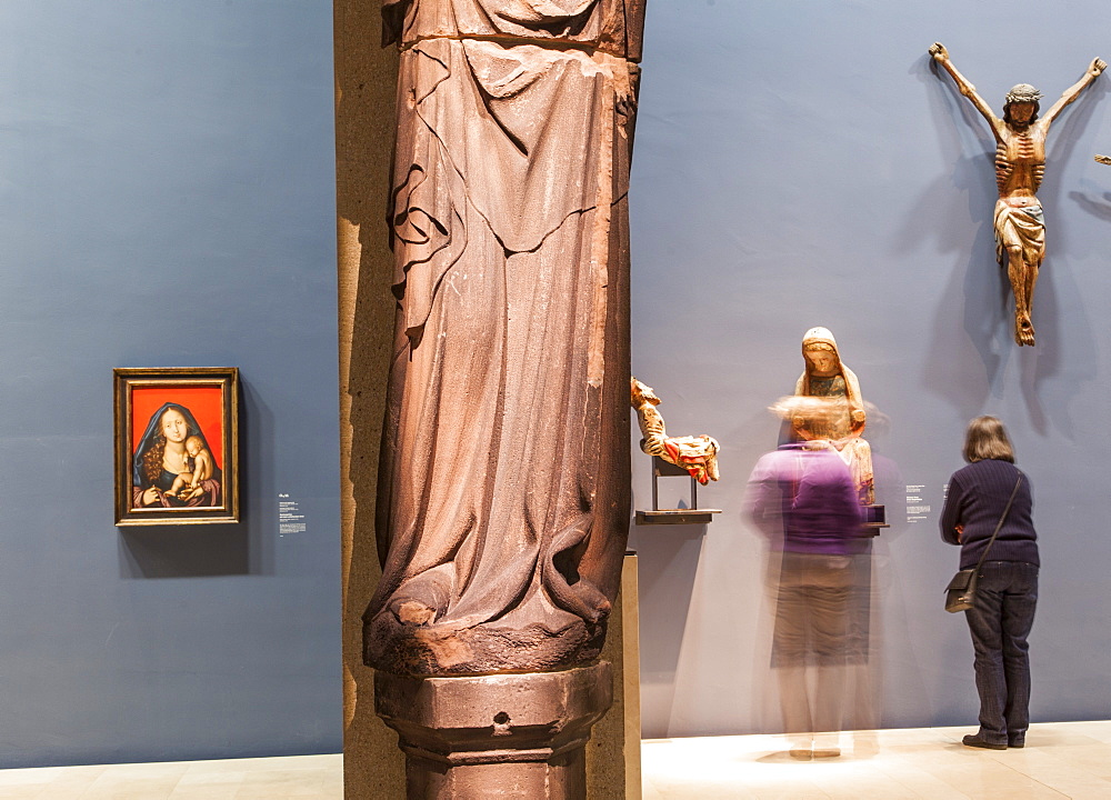 Sculpture of prophet on column in Augustiner Museum, Freiburg, Germany