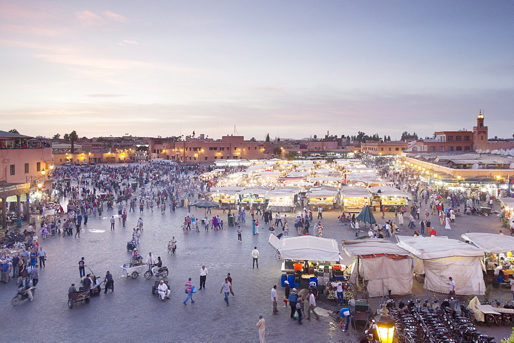 Evening entertainment on Jemaa el-Fna Square in Marrakesh, Morocco