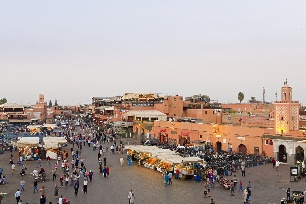 Regular evening drinks and food stalls on Jemaa el-Fna Square in Marrakesh, Morocco