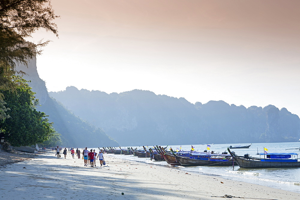 Long-tailed boats on Ao Nang beach near Krabi, Thailand, Southeast Asia, Asia