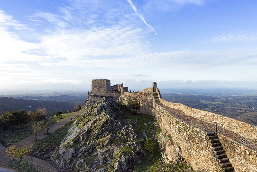 The 13th century medieval castle in Marvao, built by King Dinis, Marvao, Alentejo, Portugal, Europe