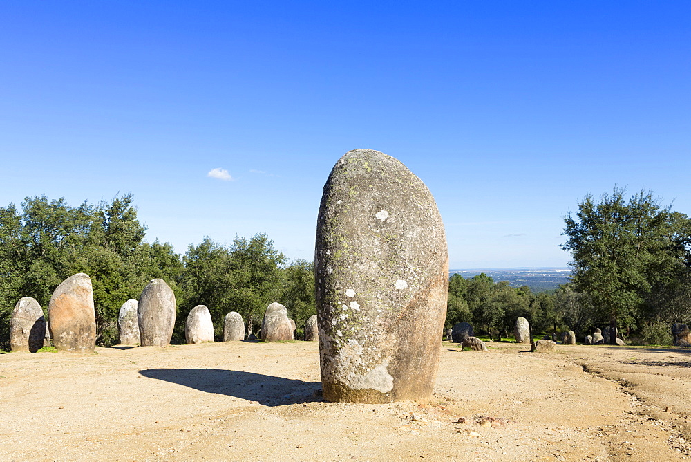 The Almendres stone circle, one of the oldest cromlechs in Europe in a region knows as the Iberian Mesopotamia, Evora, Alentejo, Portugal, Europe