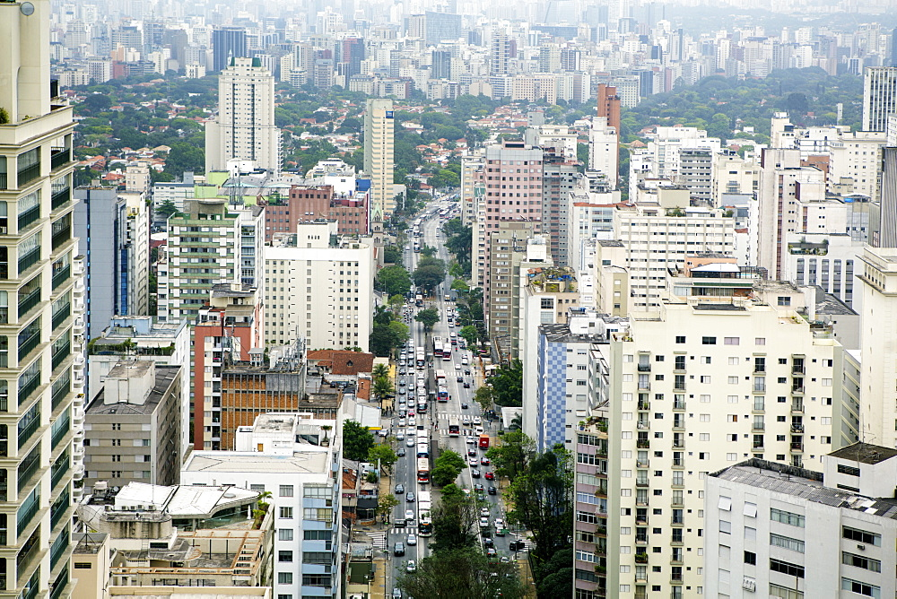 A view of the Sao Paulo skyline from Jardins, Sao Paulo, Brazil, South America