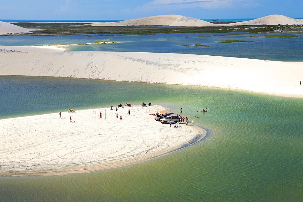 Aerial of dunes near Jericoacoara, Ceara, Brazil, South America