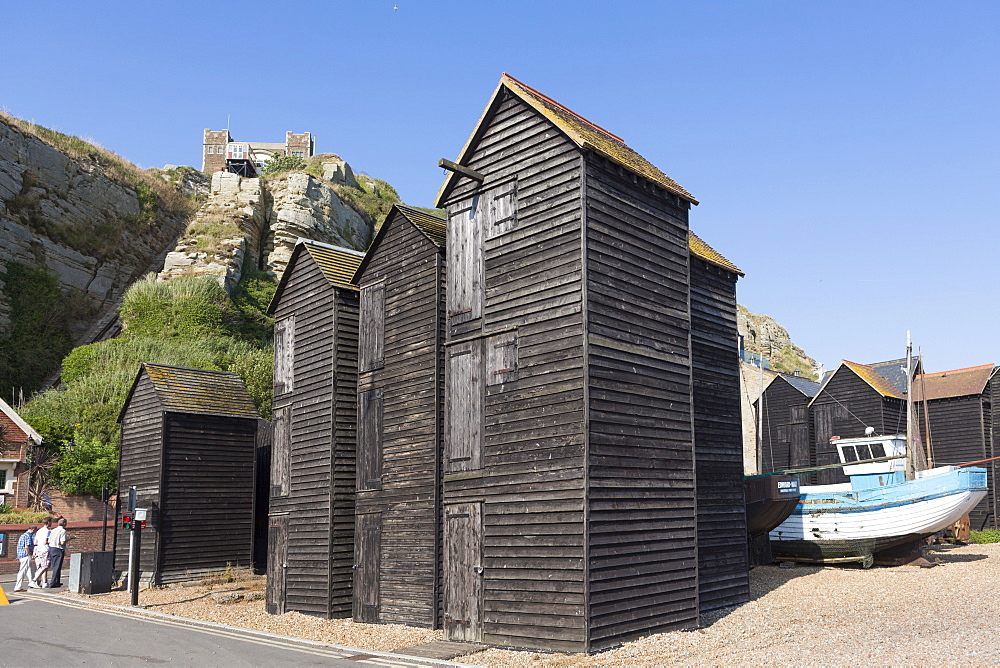 The Stade, net huts (net shops) and funicular railway in the centre of Old Town, Hastings, East Sussex, England, United Kingdom, Europe