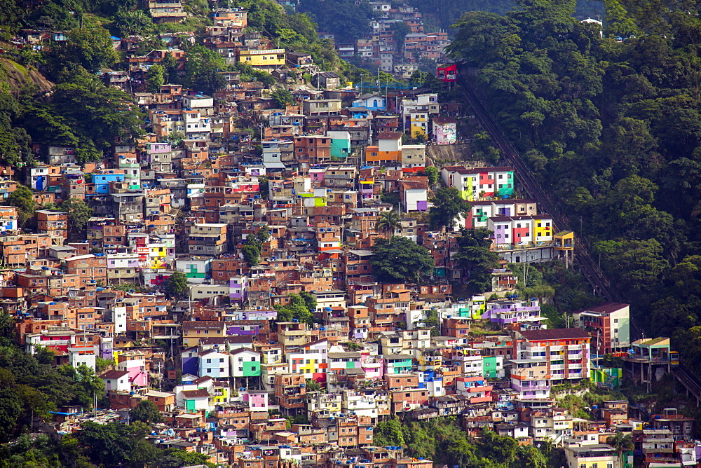 View of the Santa Marta favela (slum community) showing the funicular railway, Rio de Janeiro, Brazil, South America