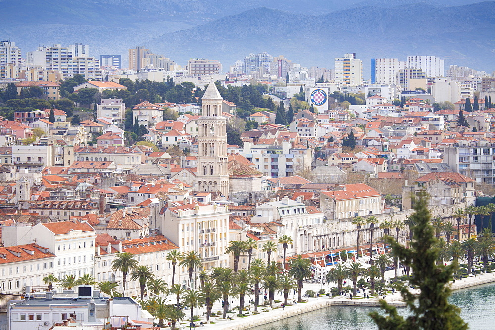 View of harbour and town centre showing the steeple of the cathedral of St. Duje, Split, Dalmatia, Croatia, Europe