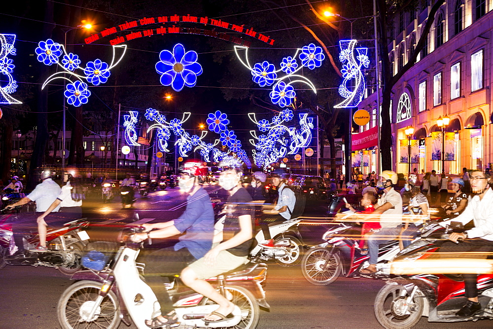 Traffic and Chinese New Year lights, Ho Chi Minh city, Vietnam, Southeast Asia