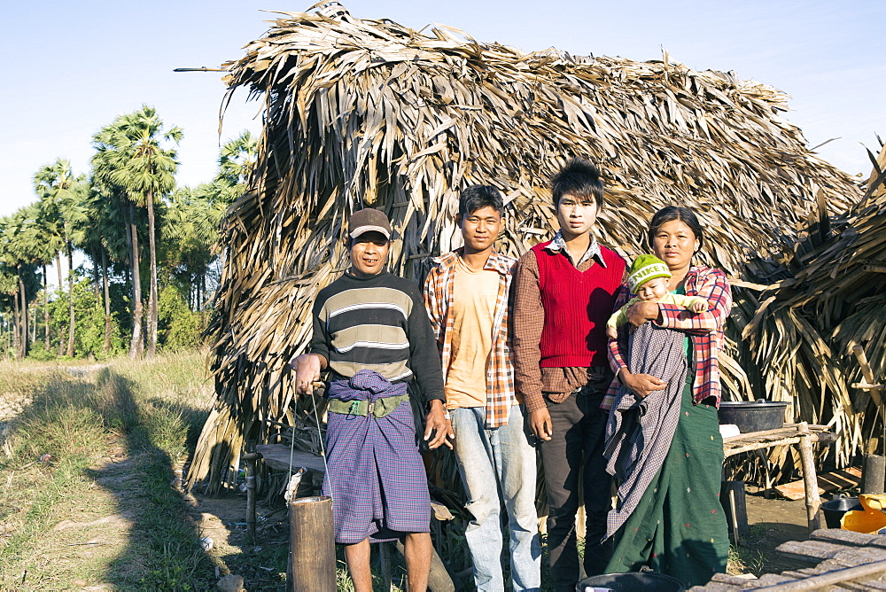 Palm toddy farmers outside their home, Dawei, Tanintharyi, Myanmar, Southeast Asia