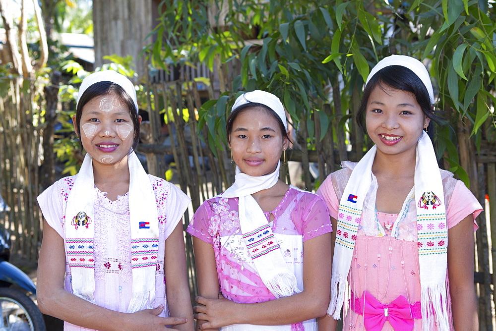 Karen villagers in traditional dress, Tanintharyi Region, Myanmar, Southeast Asia