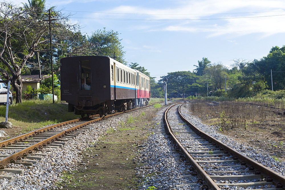 Railway train in Thanbyuzayat, Mon, Myanmar (Burma), Southeast Asia