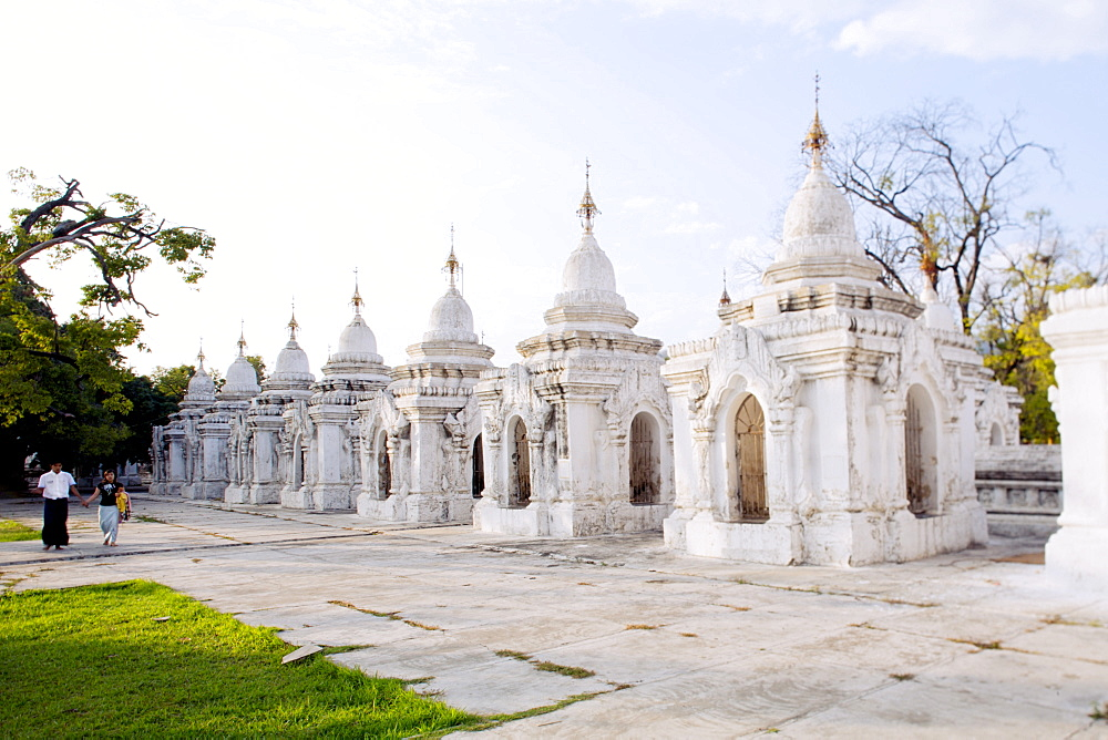 Kuthodaw pagoda - stupas housing the world's largest book, consisting of 729 large marble tablets with the Tipitaka Pali canon