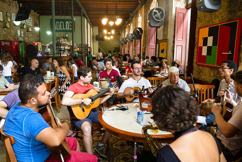 Adelos chorinho bar in the old city centre, a band playing choro (chorinho) music, Rio de Janeiro, Brazil, South America