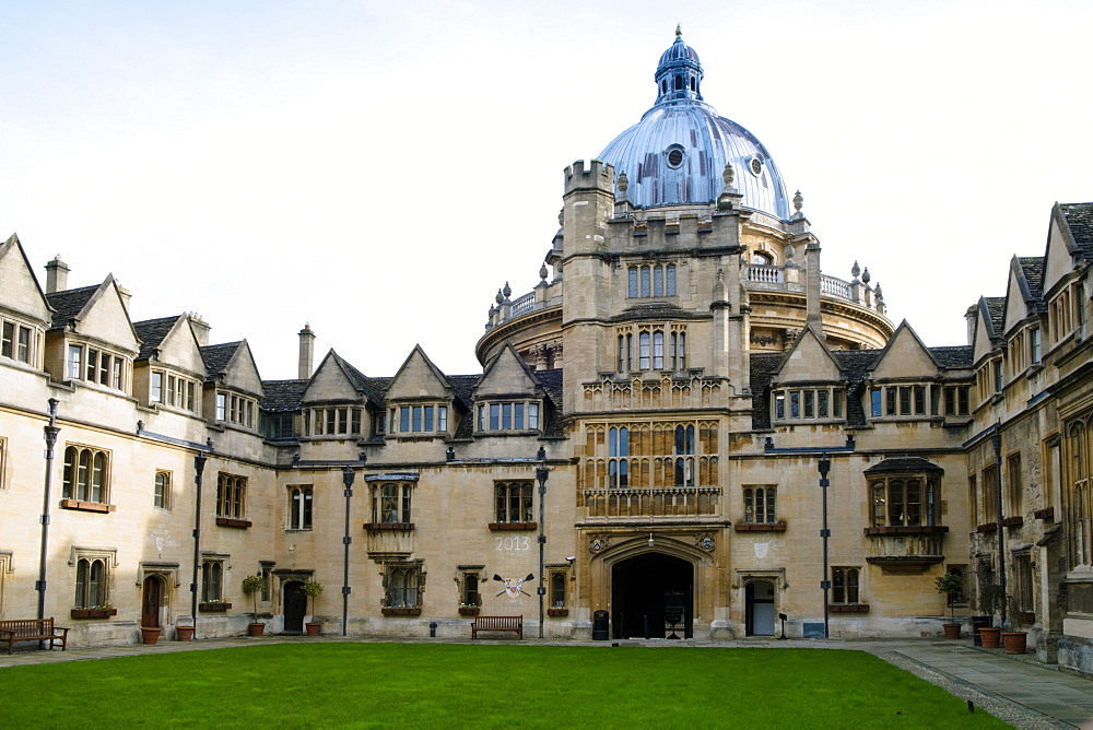 Brasenose College front quad, David Cameron's college, and the Radcliffe Camera, Oxford, Oxfordshire, England, United Kingdom, Europe