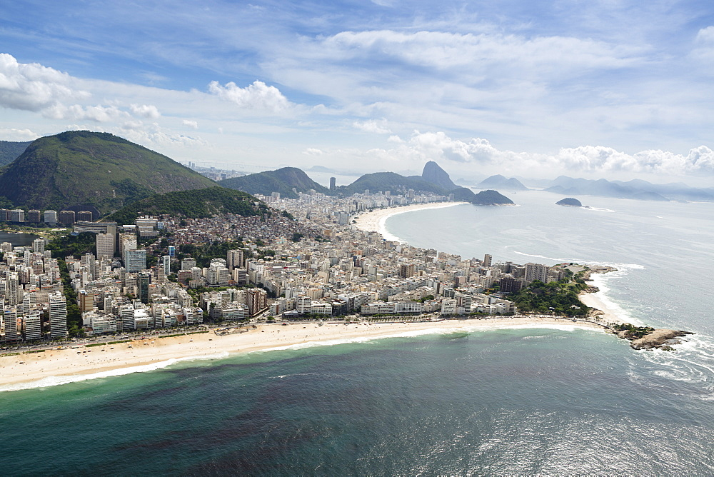 Arpoador and Copacabana beaches and the Arpoador peninsula, Rio de Janeiro, Brazil, South America