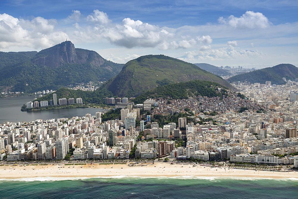 Cabritos hill and Corcovado, Ipanema Beach, Rio de Janeiro, Brazil, South America
