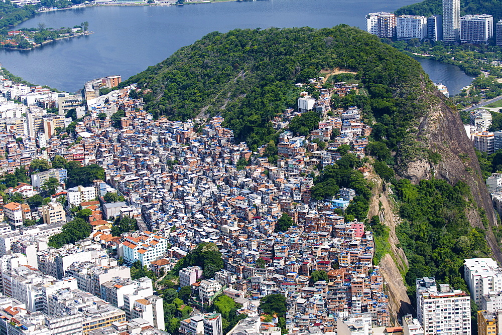 Aerial view of Cantagalo (Pavao-Pavaozinho) favela and Ipanema suburb, Rio de Janeiro, Brazil, South America