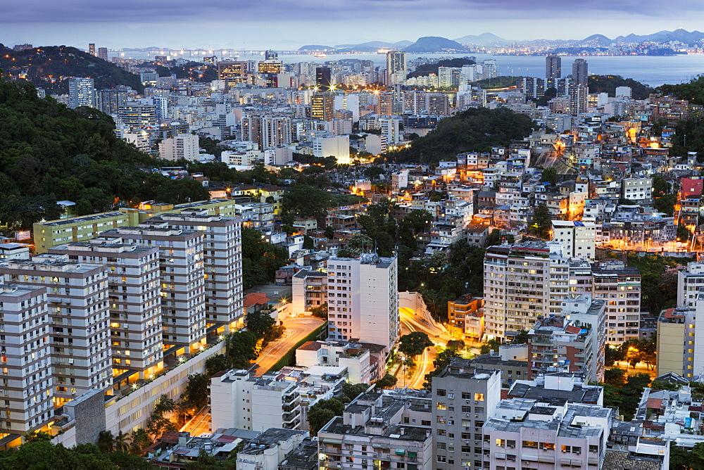 Tabajaras favela and Copacabana, Rio de Janeiro, Brazil, South America