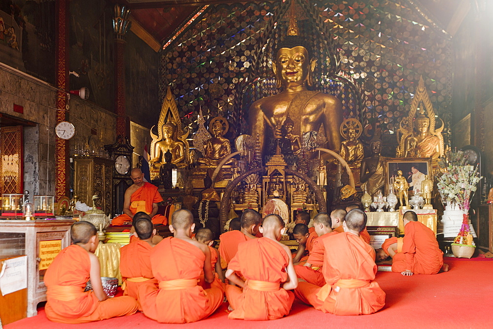Buddhist novice monks in class at Doi Suthep temple, Chiang Mai, Thailand, Southeast Asia, Asia