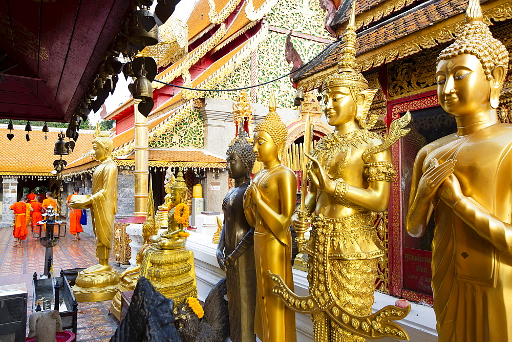 Gold Buddhas at Doi Suthep temple, Chiang Mai, Thailand, Southeast Asia, Asia