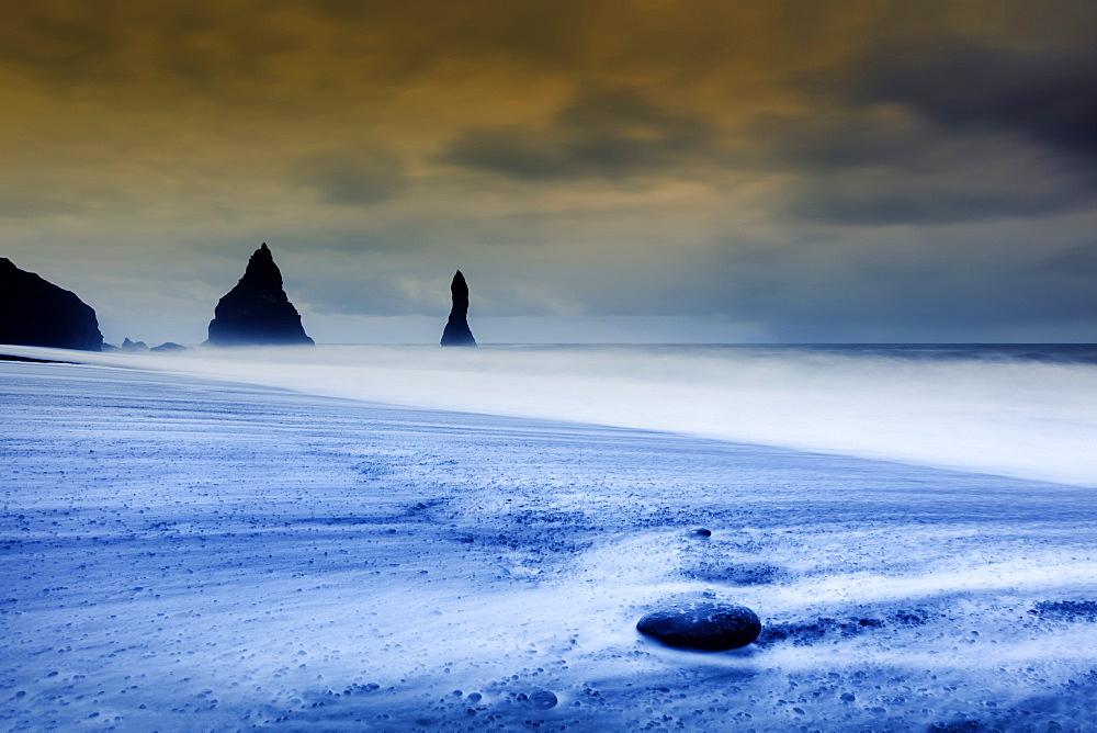 Vik black volcanic sand beach, Vik, Iceland, Polar Regions