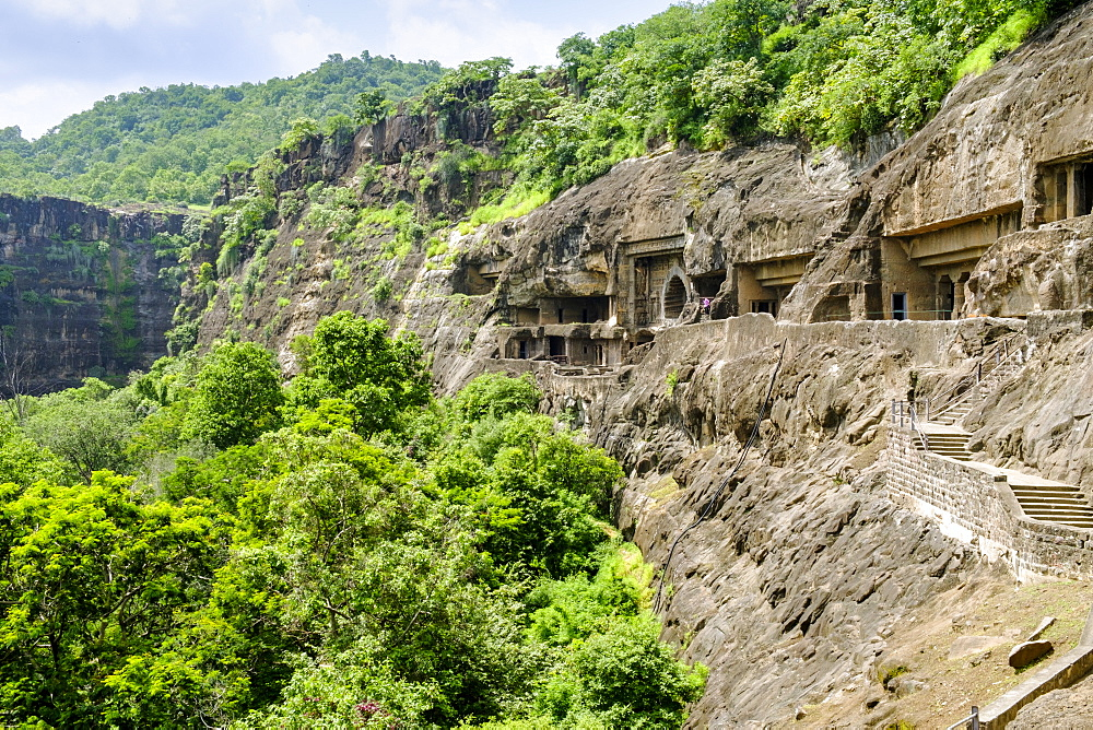 General view of the Ajanta Caves, UNESCO World Heritage Site, Maharashtra, India, Asia