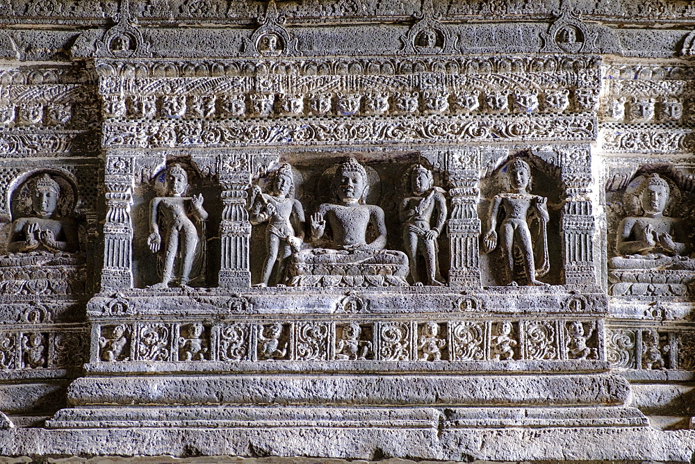 Buddhist carvings at the Ajanta Cave, UNESCO World Heritage Site, Maharashtra, India, Asia