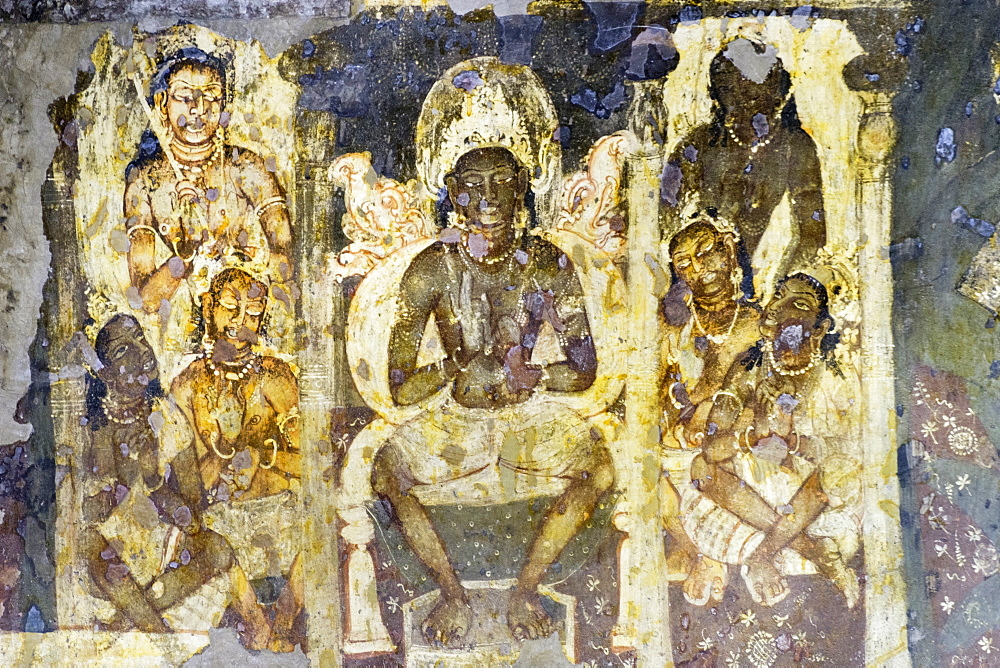 Buddhist painting in the Ajanta Caves, UNESCO World Heritage Site, Maharashtra, India, Asia