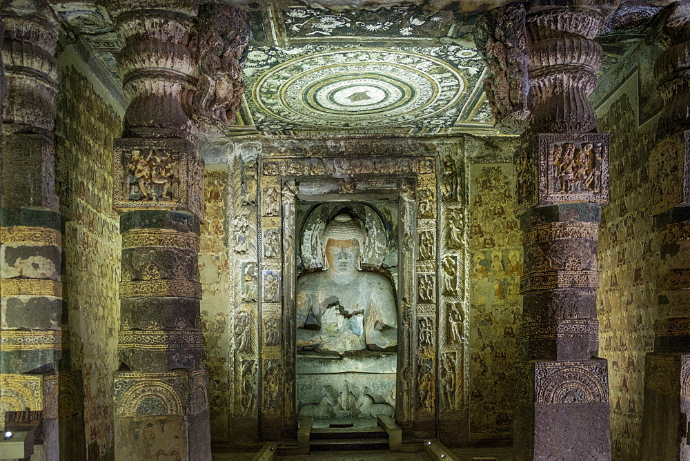 Buddha statue in the Ajanta Caves, UNESCO World Heritage Site, Maharashtra, India, Asia