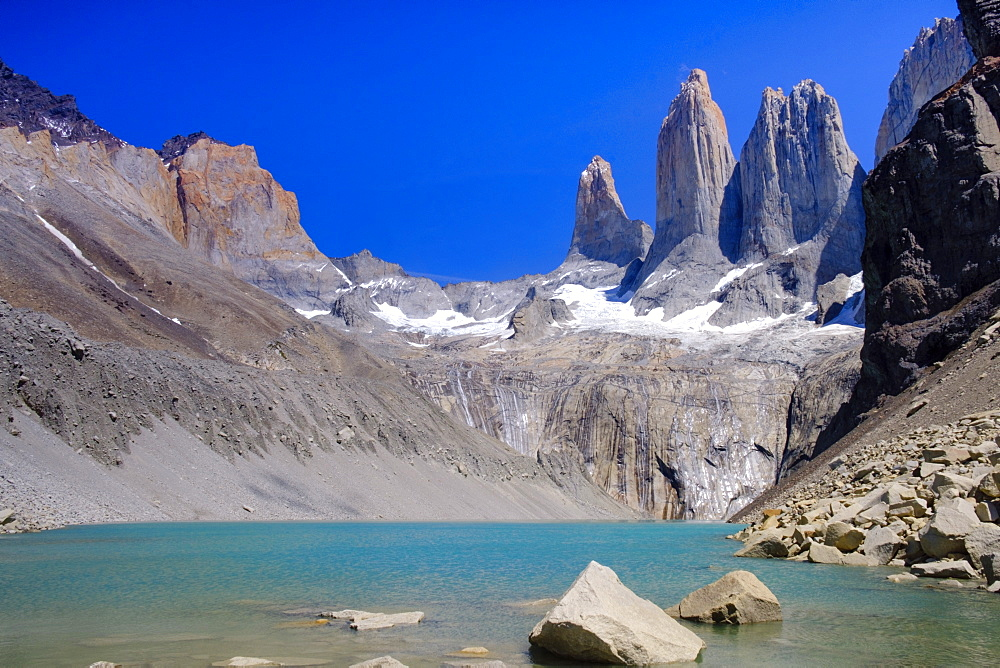 A glacial lake and the rock towers that give the Torres del Paine range its name, Torres del Paine National Park, Patagonia, Chile, South America