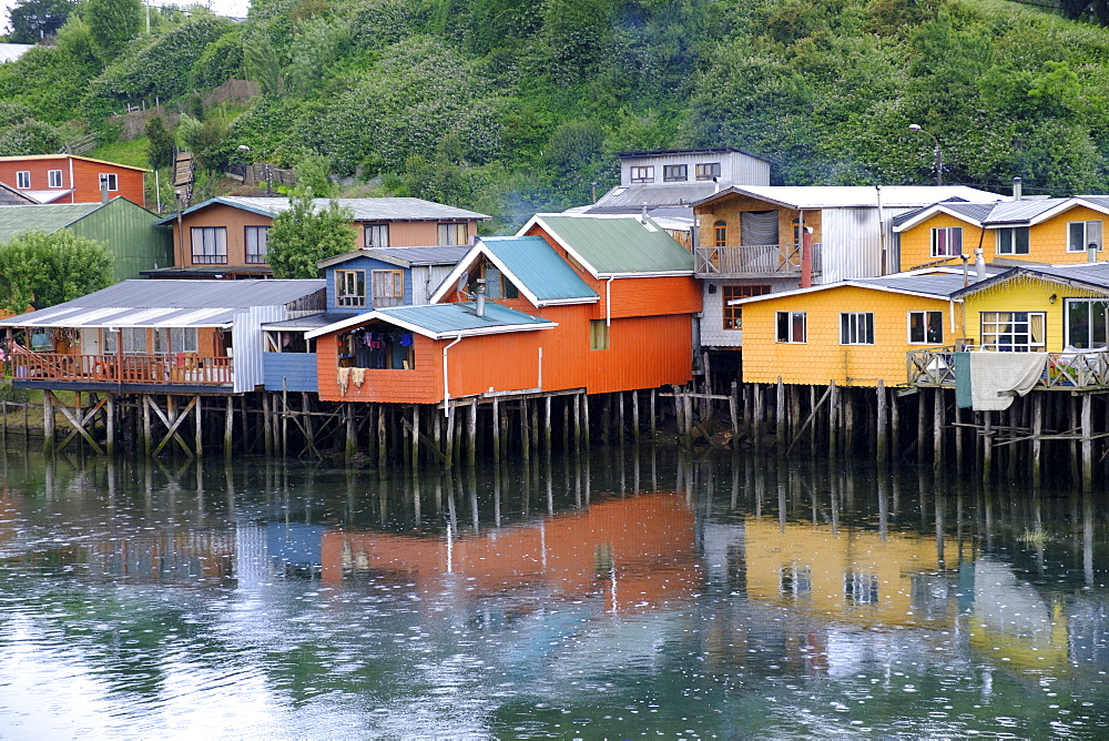 A palafita stilt village in Castro, Chiloe Island, northern Patagonia, Chile, South America