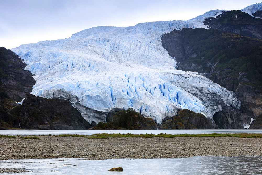 A glacier in the Darwin Mountain range, Alberto de Agostini National Park, Tierra del Fuego, Patagonia, Chile, South America