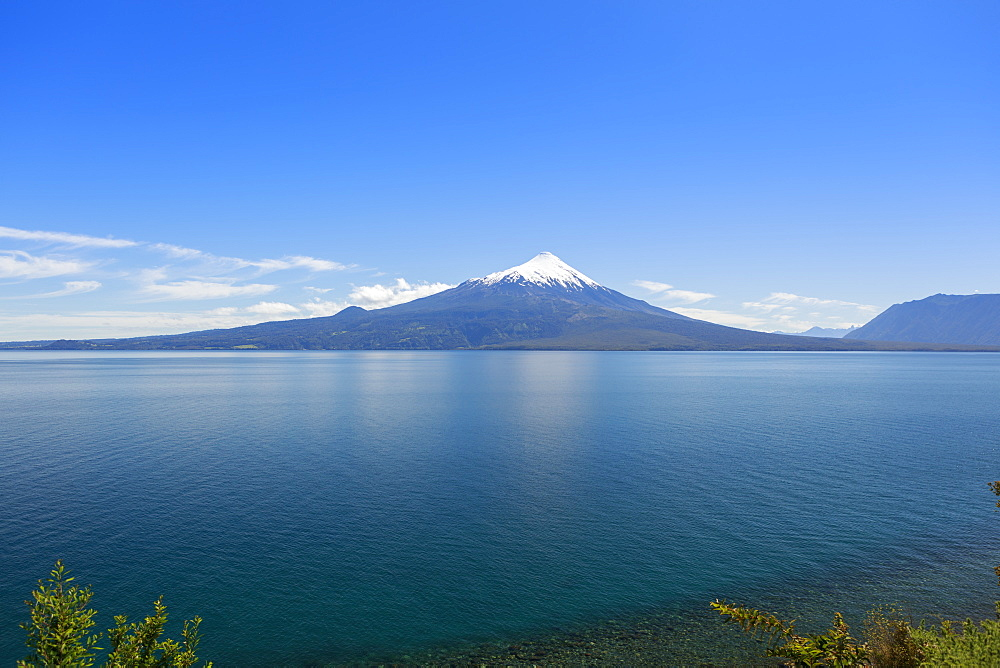 The 2652 metre tall Osorno Volcano, a conical stratovolcano, in northern Patagonia near Puerto Montt, Chile, South America