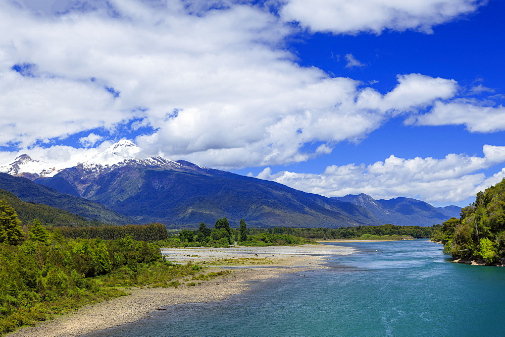View of the Puelo River in Northern Patagonia, Chile, South America