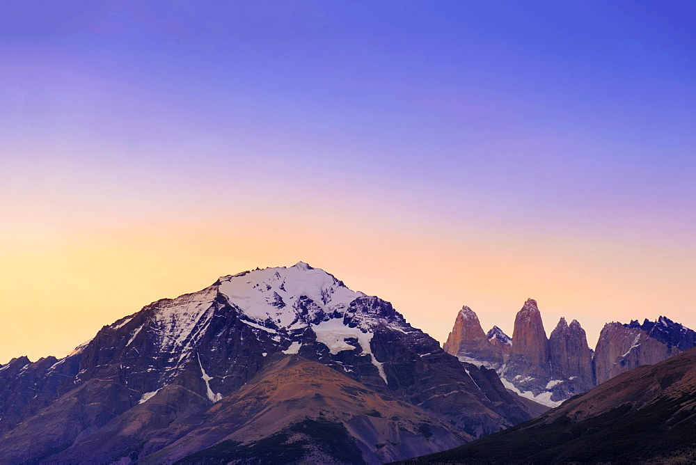 Chile Patagonia, Torres del Paine national park, the Torres del Paine granite towers and central massif at the heart of the park