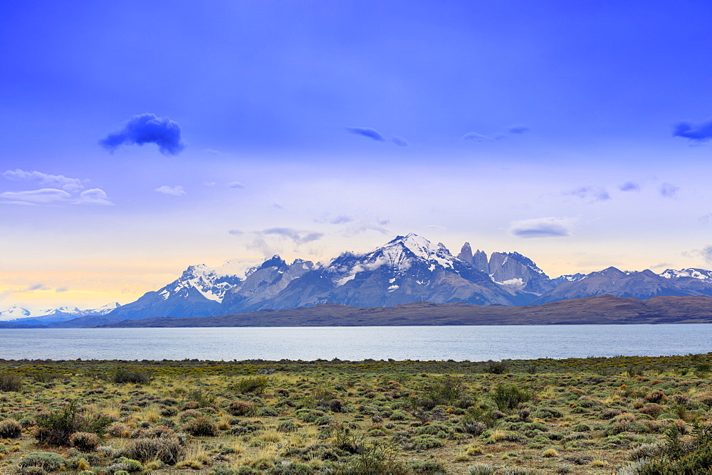 Chile Patagonia, view of the Torres del Paine mountain range
