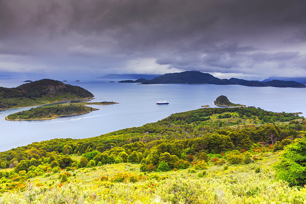 View of Wulaia Bay, Isla Navarino, Murray Channel, Patagonia, Chile, South America