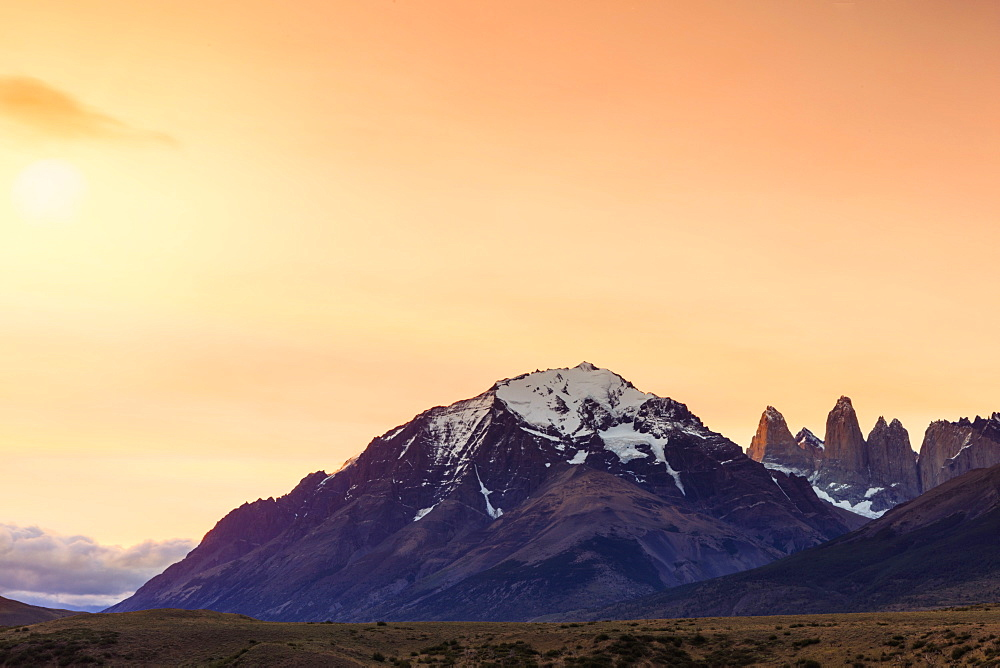 The Torres del Paine granite towers and central massif at the heart of the park, Torres del Paine National Park, Patagonia, Chile, South America