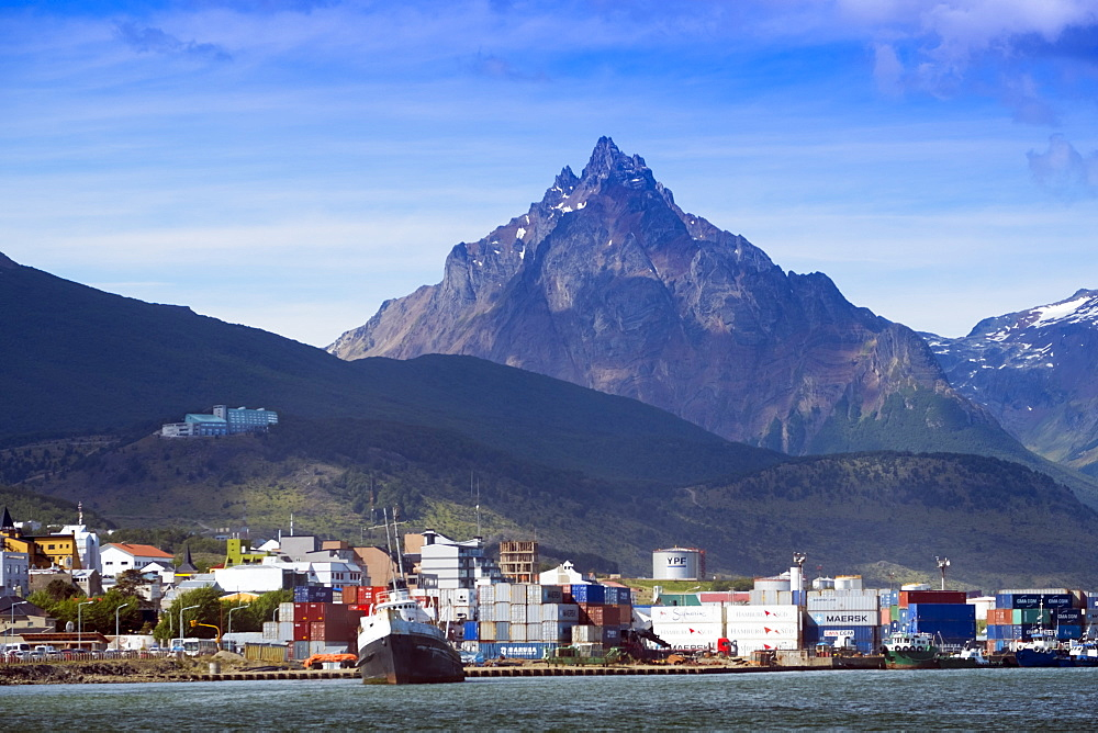 Ushuaia city and port on Tierra del Fuego island, Argentina, South America