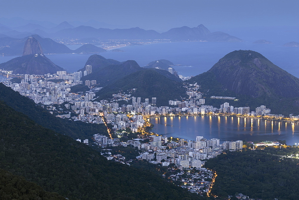The Lagoa Rodrigo de Freitas, Sugar Loaf and Rio de Janeiro landscape from Tijuca National Park, Rio de Janeiro, Brazil, South America