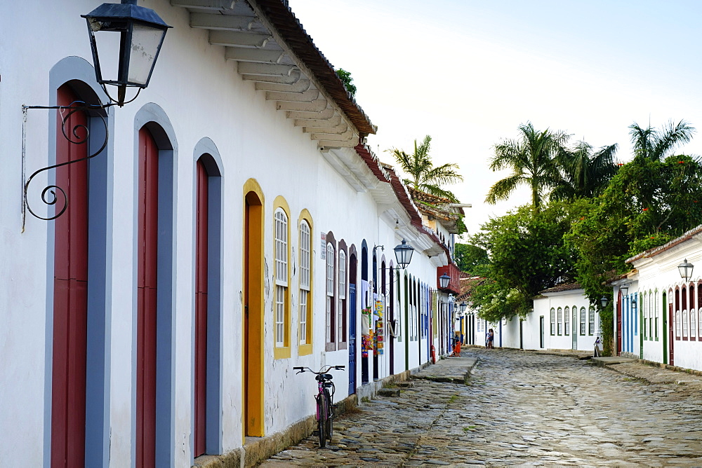 Portuguese colonial vernacular architecture in the centre of Paraty (Parati) town on Brazil's Green Coast, Rio de Janeiro state, Brazil, South America