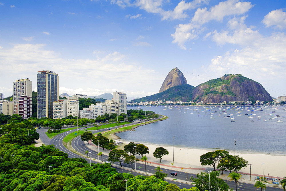 The Sugar Loaf and Botafogo Bay, Botafogo neighbourhood, Rio de Janeiro, Brazil, South America