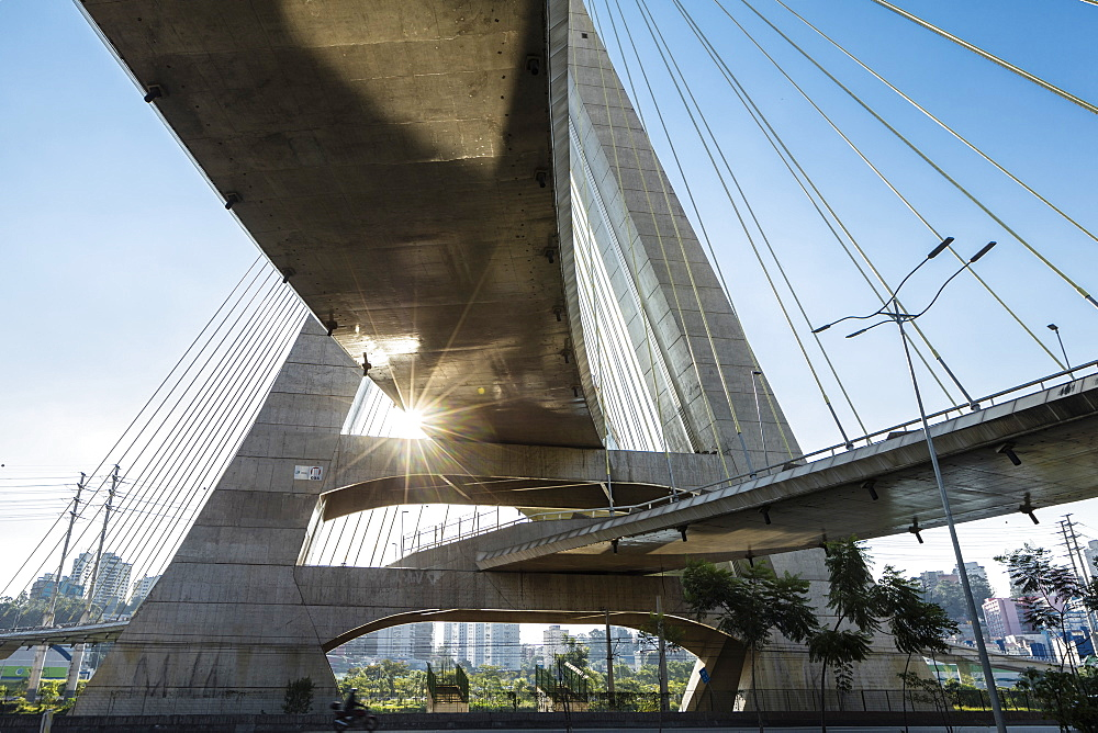 Octavio Frias de Oliveira Bridge by Joao Valente Filho in the Brooklin district of Sao Paulo, Brazil, South America