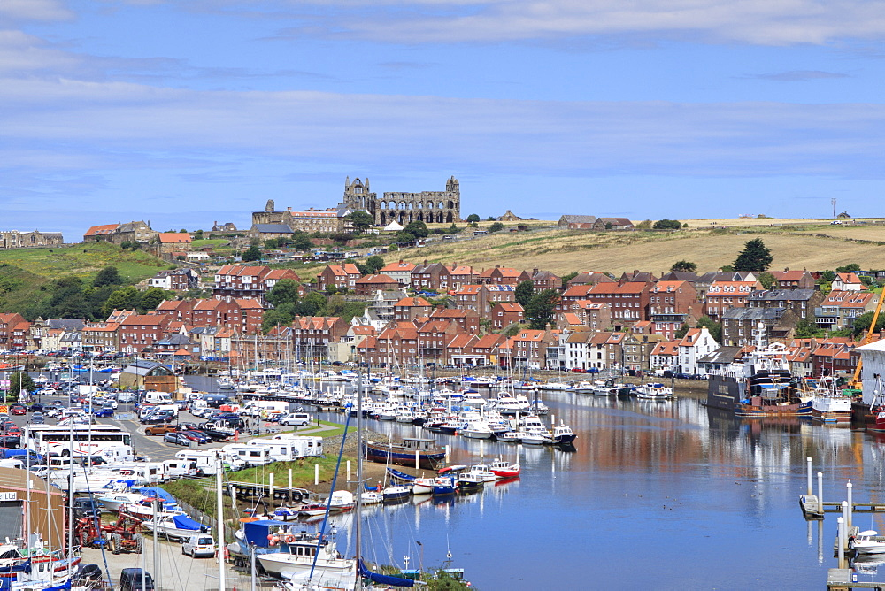 View of Whitby Abbey and the River Esk, Whitby, Yorkshire, England, United Kingdom, Europe - 1176-804