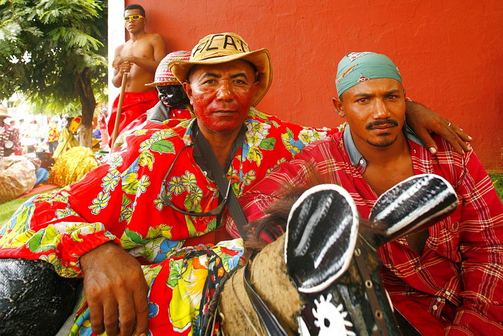 Locals dressed up for Maracatu parades at Carnival, Nazare da Mata, Pernambuco, Brazil, South America