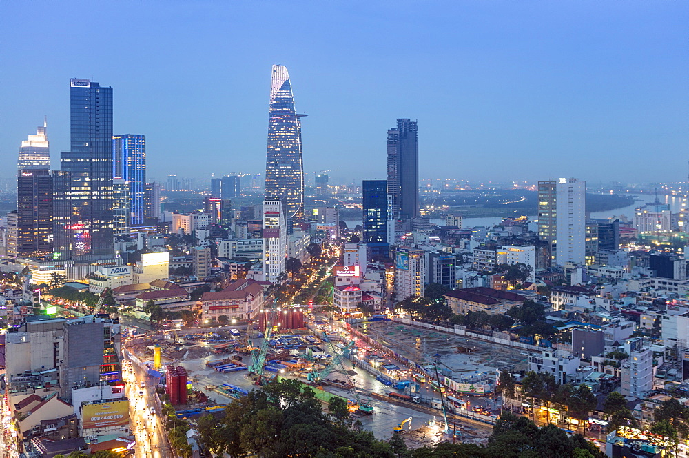 City skyline at night showing the Bitexco tower, Ho Chi Minh City (Saigon), Vietnam, Indochina, Southeast Asia, Asia