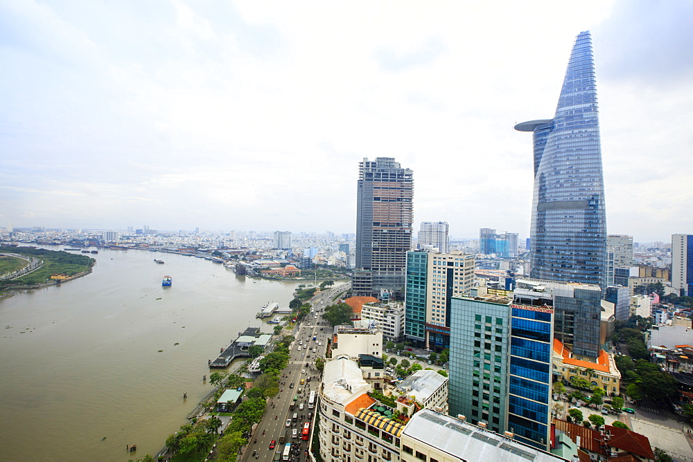 The skyline of Ho Chi Minh City (Saigon) showing the Bitexco tower and the Saigon River, Hoi Chi Minh City, Vietnam, Indochina, Southeast Asia, Asia