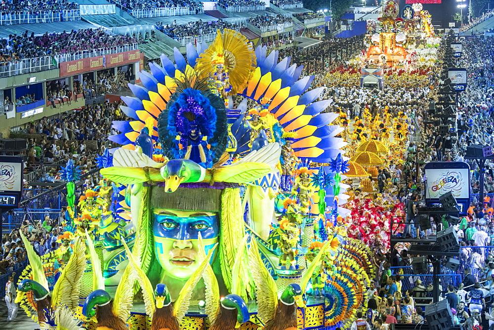 Dancers at the main Rio de Janeiro Carnival parade in the Sambadrome (Sambodromo) arena, Rio de Janeiro, Brazil, South America - 1176-906