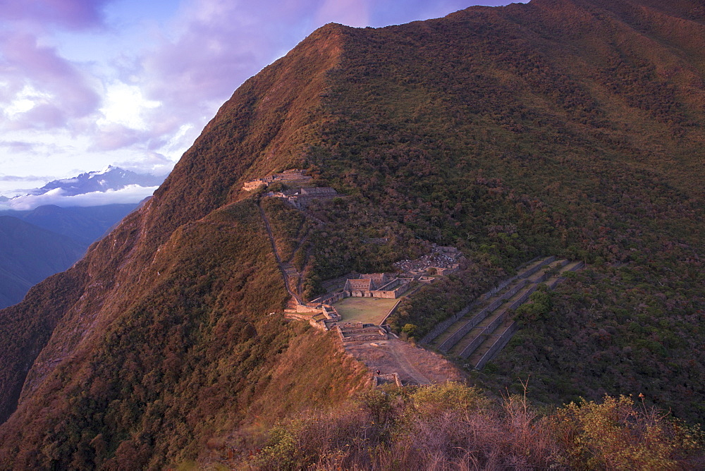 View of the Inca city of Choquequirao in the Andes, Peru, South America